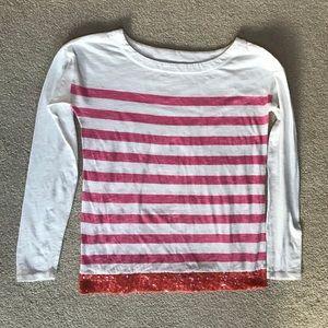 Ann Taylor LOFT Striped Sequins Trim Boatneck Top